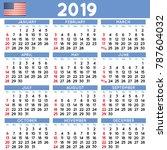 2019 elegant squared calendar... | Shutterstock .eps vector #787604032