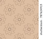 brown floral seamless pattern... | Shutterstock .eps vector #787624915
