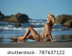 young woman relaxing on the... | Shutterstock . vector #787637122