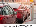 charging modern electric car ... | Shutterstock . vector #787640125