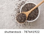 Chia Seeds In Wooden Spoon And...