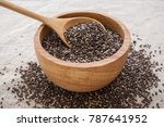 chia seeds in wooden bowl with... | Shutterstock . vector #787641952