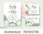 wedding cards floral design.... | Shutterstock .eps vector #787642738