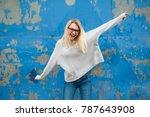 teenage girl posing and having... | Shutterstock . vector #787643908