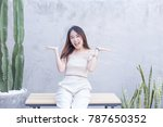 young asian beautiful and... | Shutterstock . vector #787650352