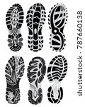 footprint sport shoes vector set | Shutterstock .eps vector #787660138