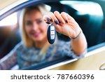 happy young woman driver... | Shutterstock . vector #787660396