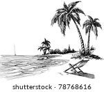summer beach pencil drawing | Shutterstock .eps vector #78768616