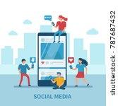 social media concept banner... | Shutterstock .eps vector #787687432