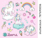 set of beautiful unicorns on... | Shutterstock .eps vector #787690036