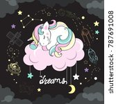 a beautiful unicorn sleeping on ... | Shutterstock .eps vector #787691008