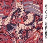 seamless mehndi vector pattern. ... | Shutterstock .eps vector #787692628