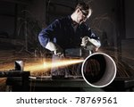 heavy industry worker cutting... | Shutterstock . vector #78769561