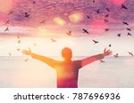 copy space of man rise hand up... | Shutterstock . vector #787696936