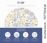 Stock vector pet shop concept in half circle with thin line icons cat dog collar kennel grooming food 787702618