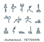 simple stylized yoga poses icon ... | Shutterstock . vector #787705498