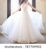 bride white dress details | Shutterstock . vector #787709902