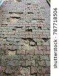 damaged asphalt road with... | Shutterstock . vector #787718506