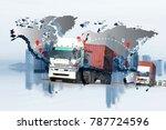 transportation  import export... | Shutterstock . vector #787724596