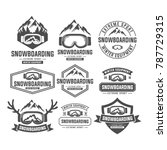 snowboarding mountain emblems ... | Shutterstock .eps vector #787729315