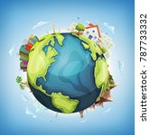 earth planet background with... | Shutterstock .eps vector #787733332