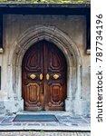 antique wooden door with... | Shutterstock . vector #787734196