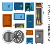 armored metal safes full of... | Shutterstock .eps vector #787742776