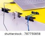 black paper clips diy life hack ...   Shutterstock . vector #787750858