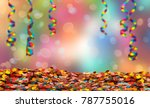 party streamers and confetti on ... | Shutterstock . vector #787755016