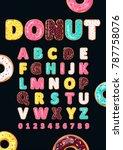 font of donuts. bakery sweet... | Shutterstock .eps vector #787758076