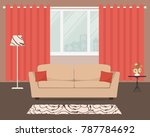living room with a beige sofa... | Shutterstock .eps vector #787784692