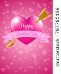 valentine heart with banner and ... | Shutterstock .eps vector #787785136