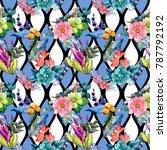 tropical flower pattern in a... | Shutterstock . vector #787792192