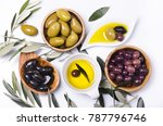 olive oil and assorted italian... | Shutterstock . vector #787796746