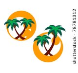 two icons with palm trees | Shutterstock .eps vector #78781312