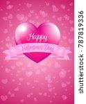 valentine heart with banner  ... | Shutterstock . vector #787819336