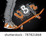 stylish skater in jeans and... | Shutterstock .eps vector #787821868