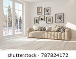 white room with sofa and winter ... | Shutterstock . vector #787824172