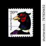 Small photo of MOSCOW, RUSSIA - NOVEMBER 24, 2017: A stamp printed in USA shows Ring-necked Pheasant (Phasianus colchicus torquatus), Flora and Fauna Issue serie, circa 1999