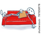 stick figure with a book... | Shutterstock .eps vector #787858978