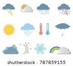set of weather icons on a white ... | Shutterstock .eps vector #787859155