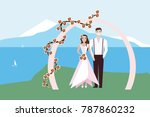 bride and the groom stand near... | Shutterstock .eps vector #787860232