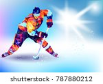 Vector illustration blue background in a geometric triangle of XXIII style Winter games. Olympic hockey on ice arena from triangle silhouette | Shutterstock vector #787880212
