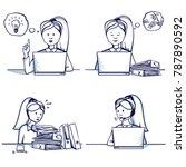 set of business woman cartoon... | Shutterstock .eps vector #787890592