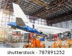 passenger aircraft on... | Shutterstock . vector #787891252