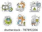 set of outline icons of... | Shutterstock .eps vector #787892206
