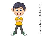 boy stood with folded arms... | Shutterstock .eps vector #787897672