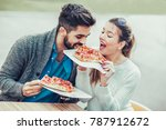 couple eating pizza snack...   Shutterstock . vector #787912672