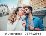 young couple having fun holding ... | Shutterstock . vector #787912966