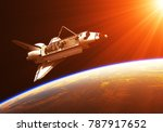 space shuttle in the rays of... | Shutterstock . vector #787917652